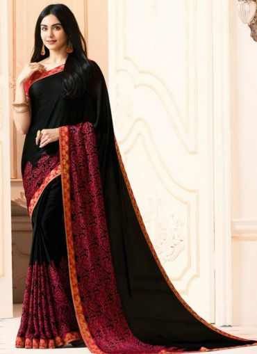 Classic Bollywood Style Georgette Black Saree