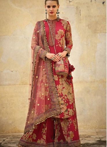 Moti Work Latest Launched Red Sharara Salwar Suit