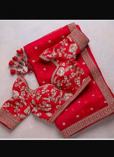 Red Soft Georgette Embroidered Saree
